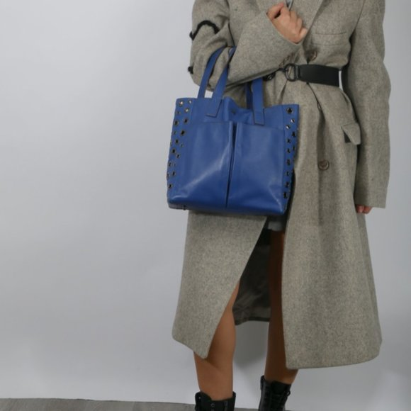 ANYA HINDMARCH Blue Eyelet Leather Nevis Tote Bag